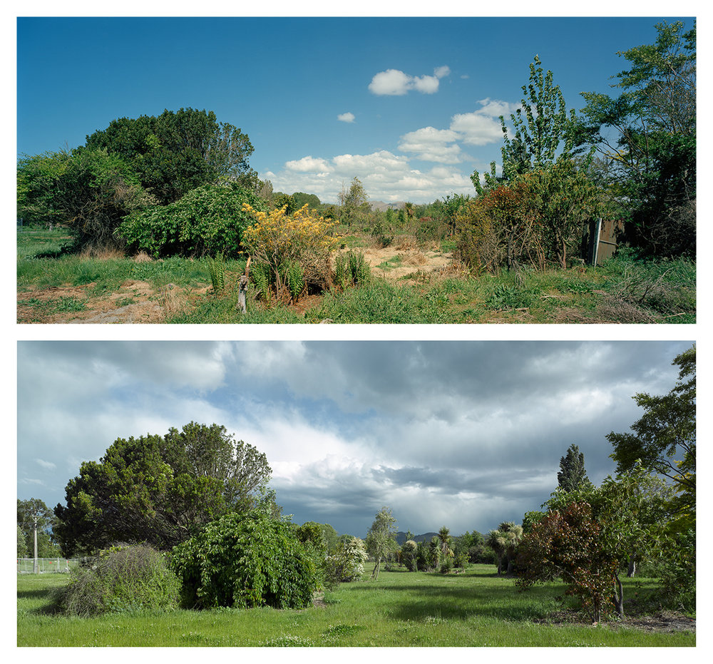 Keller St, Avonside, 2014 and 2016. Towards the Port Hills.