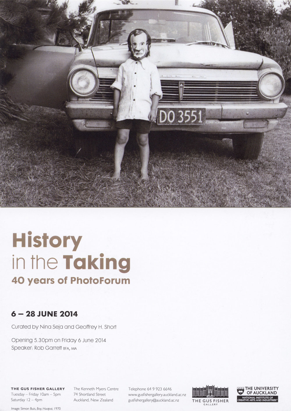 Postcard for 'History in the Taking - 40 Years of PhotoForum' ex