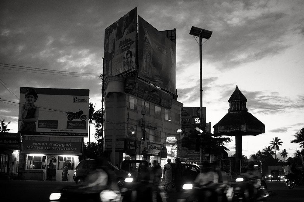 Julian Ward   Street Scene with Temple. Kollam, Kerala, India  2010