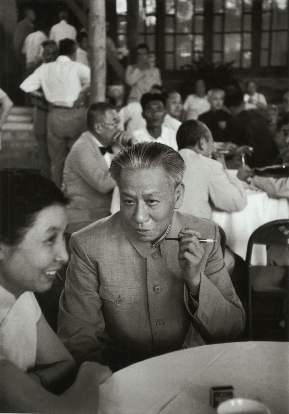 Liu Shao-chi relaxes during 8th National People's Congress break, Peking, China, September 1956. (RDH C047-34)