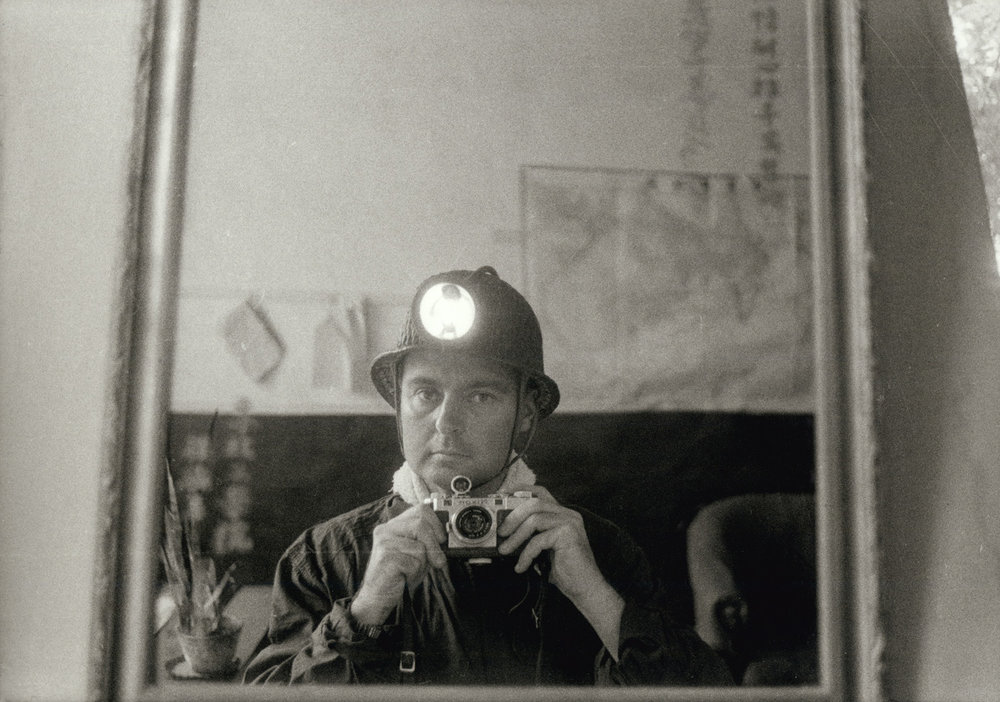 R. D. (Tom) Hutchins: Self-portrait with Nikon, Wusin coal mine, China, 1956. (RDH C139-03)