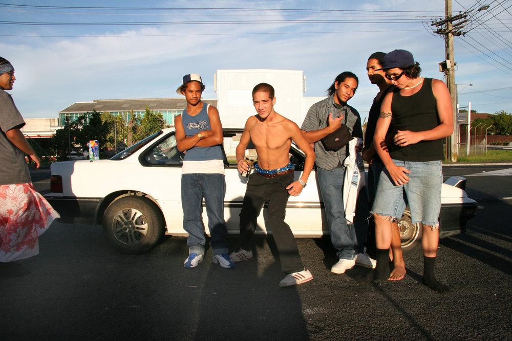 Youth group, corner Te Atatu and Wharf Roads, 6 March 2005. (JBT056)