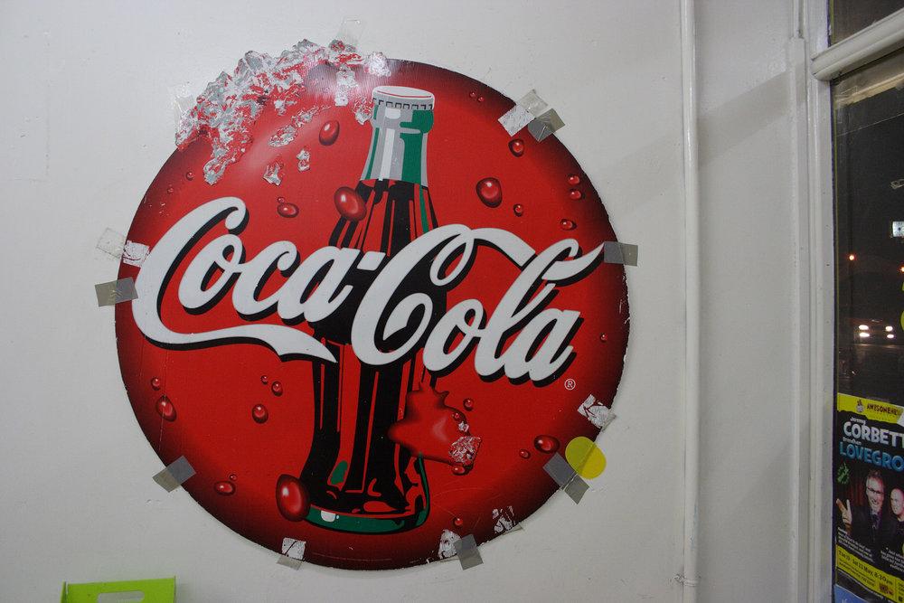 Coca-Cola sign, Golden Star Takeaways, Te Atatu Road, 9 June 2009. (JBT34703)