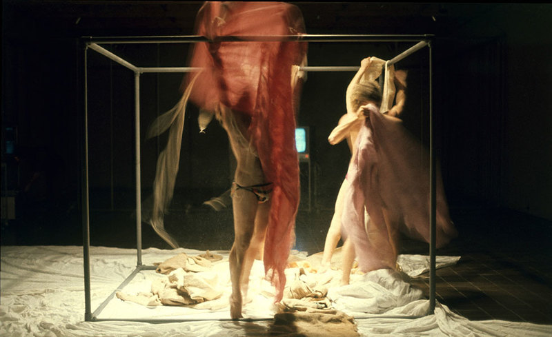 Jim Allen   Contact  1974 (installation view) three-part performance, photograph of 'Parangole Capes' at Auckland City Art Gallery.