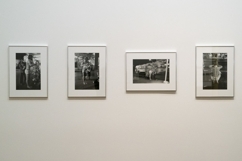 """Fiona Clark, """"Matthew McLean, """"Untitled Performance outside St James Theatre"""" circa 1974. Installation view at """"Groundswell: Avant Garde Auckland 1971-1979""""."""