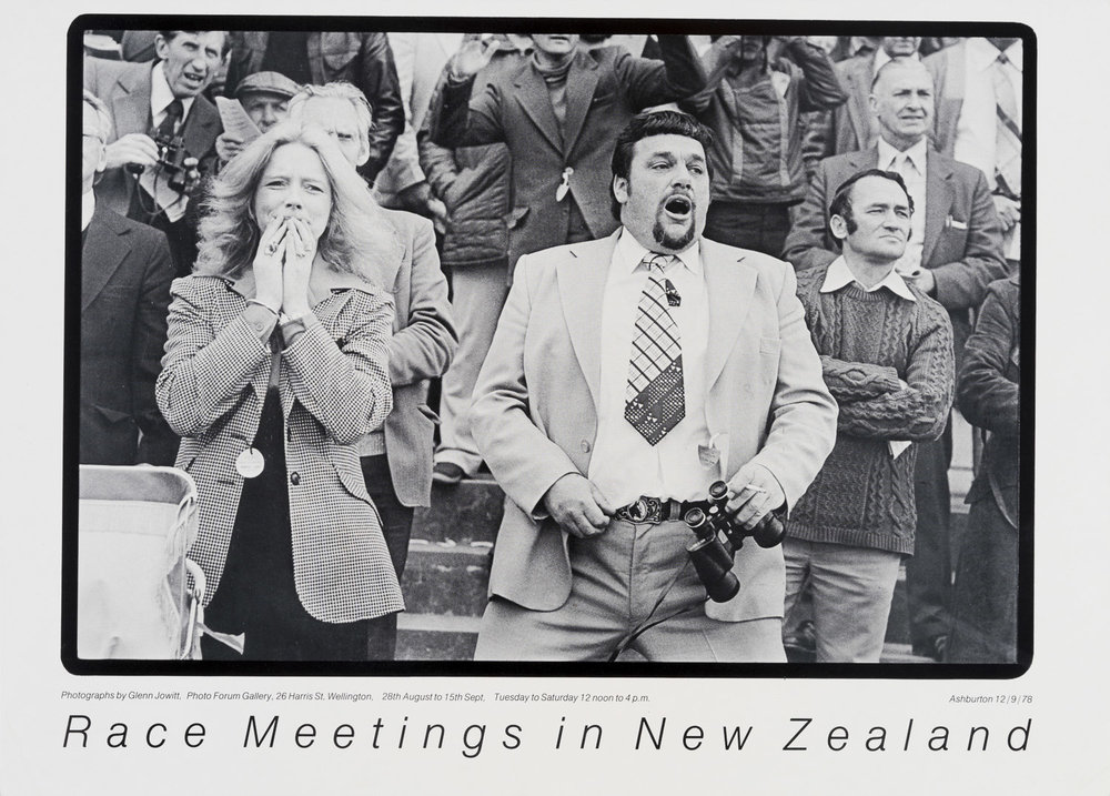 Poster for the exhibition  Glenn Jowitt  -  Race Meetings in New Zealand  at PhotoForum Gallery, Wellington, 28 August - 15 September, 1979.