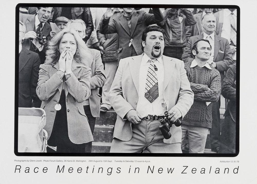 Poster for the exhibition  Glenn Jowitt  -  Race Meetings in New Zealand  at PhotoForum Gallery, Wellington, 28 August - 15 September, 1979.