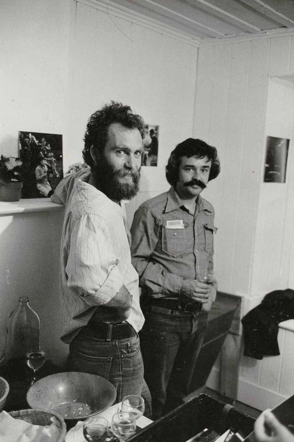John B. Turner.  Glenn Busch (left) and Tom Elliot at the opening of Snaps Gallery , 1975 (exhibition by Max Oettli)