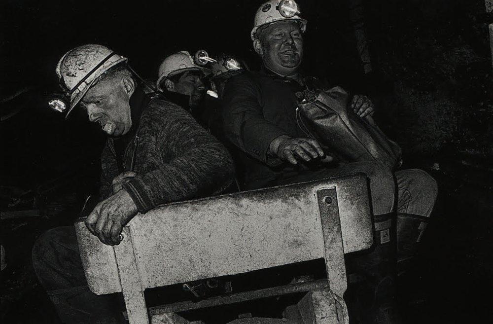 Bruce Connew , Jimmy 'Grub' Duggan & Brucie Brown, east heading haulage, Strongman Mine, 9 Mile, Westland, New Zealand , 1986.
