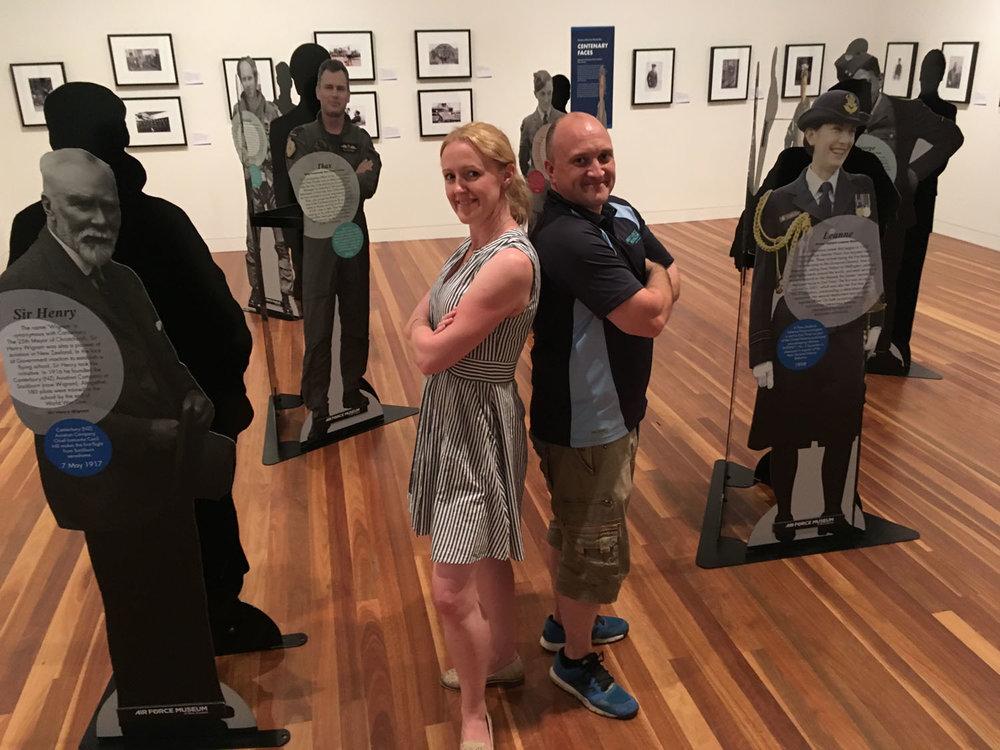 Air Force Museum of New Zealand Exhibitions Designer Sam McKinnon and Projects Coordinator Darren Hammond installed the exhibition at Aratoi (Photo:Aratoi)