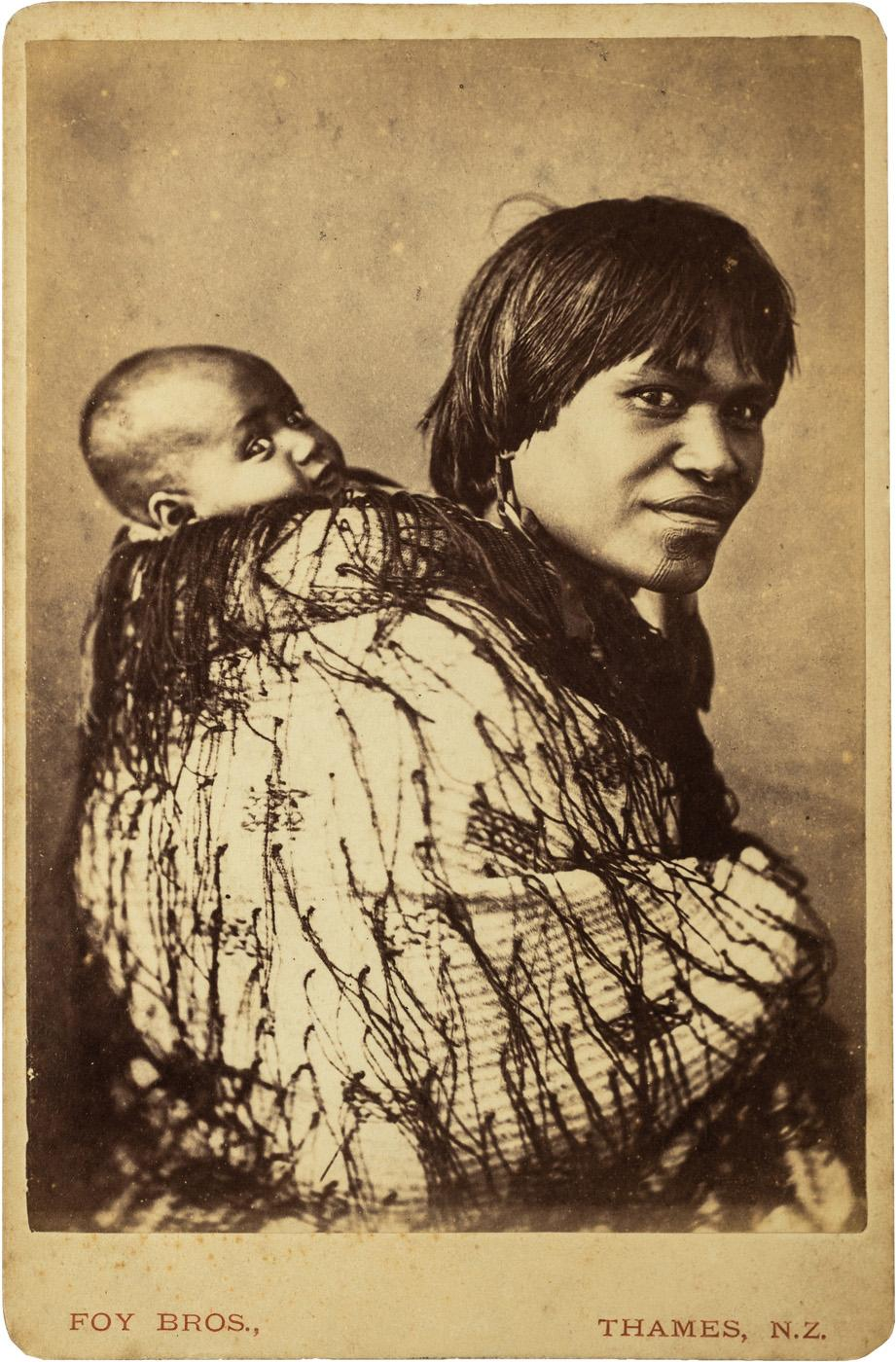 Foy Bros,  Portrait of Ana Rupene and child, Ngāti Maru   Cabinet card Albumen print mounted on Foy Bros card, c1871-1878  Inscribed ' P42/ 226 (illegible text) ' in graphite verso  166mm x 110mm