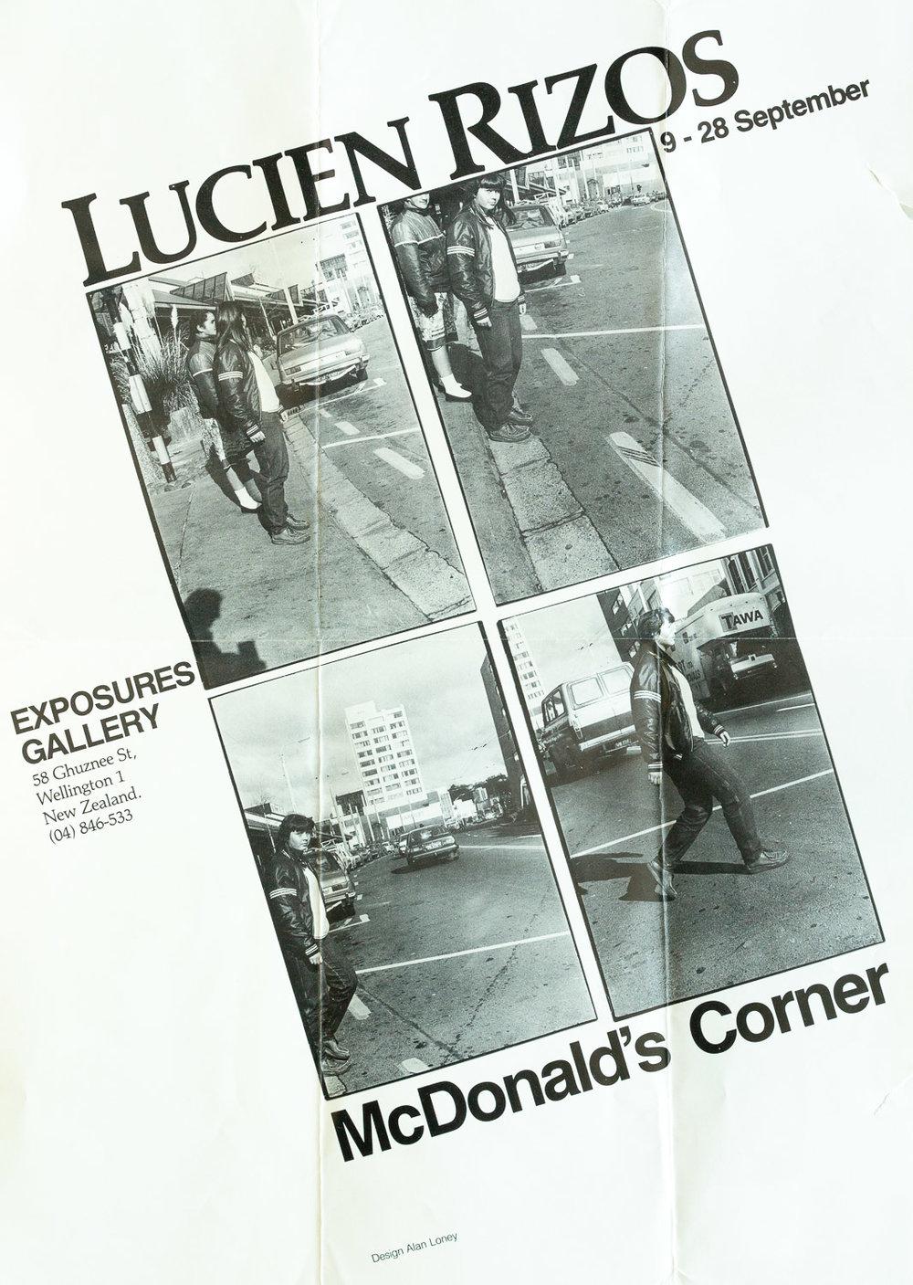 Lucien RizosMcDonald's Corner9 – 28 September, 1985. Design: Alan Loney