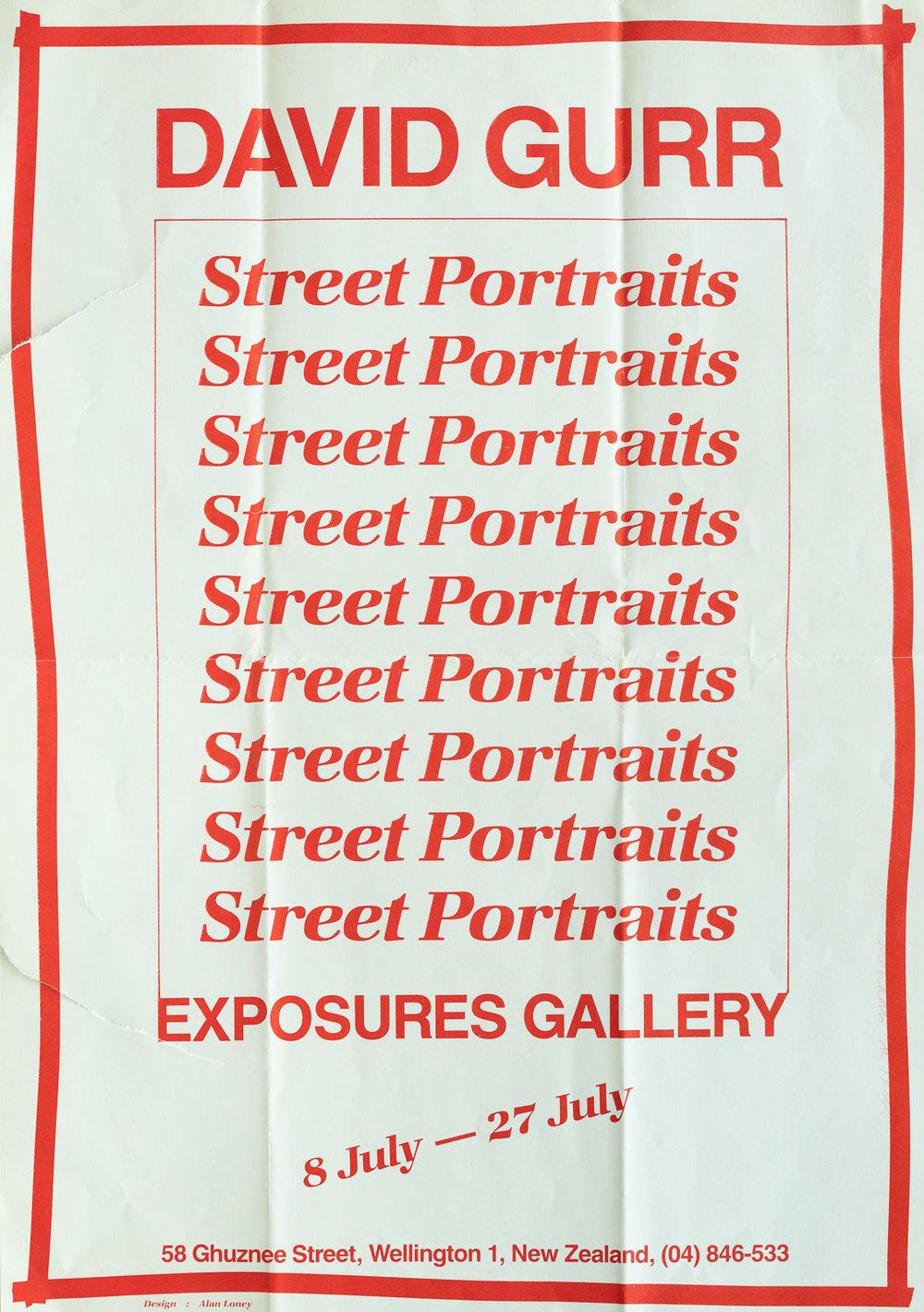 David GurrStreet Portraits8 – 27 July, 1985. Design by Alan Loney