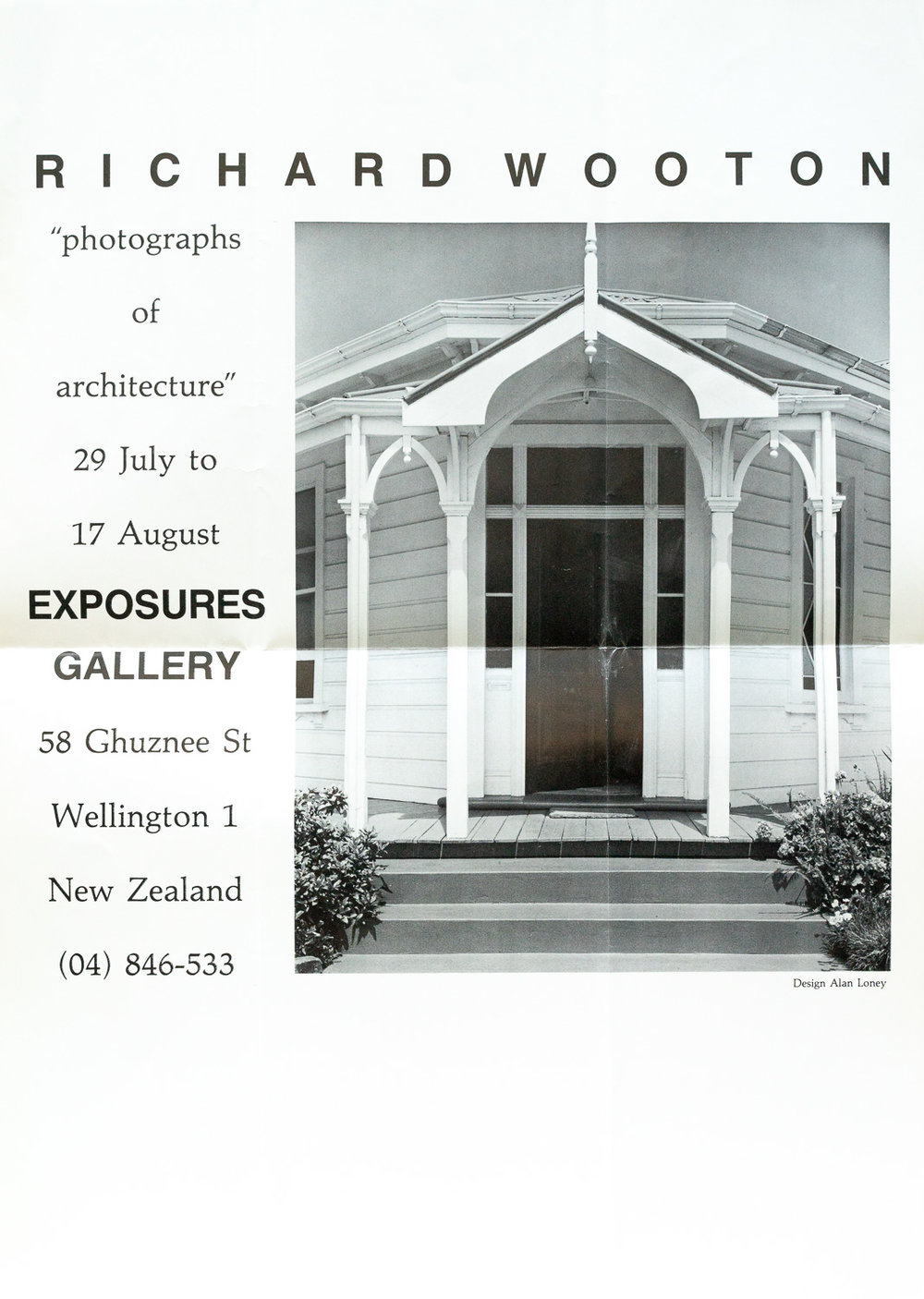 Richard WottonPhotographs of Architecture29 July – 17 August, 1985. Design by Alan Loney(note: Wotton is mis-spelled on the poster)