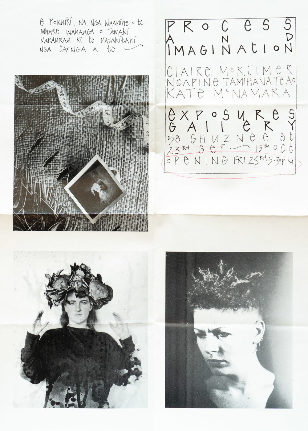 "Claire Mortimer, Ngapine Tamihana Te Ao, Kate McNamara""Process and Imagination""23 September – 15 October 1988"
