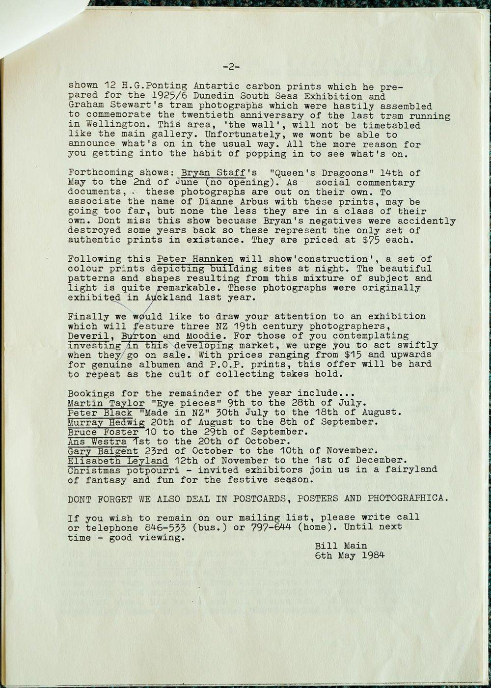 Exposures  Gallery Newsletter No.1, 6 May 1984