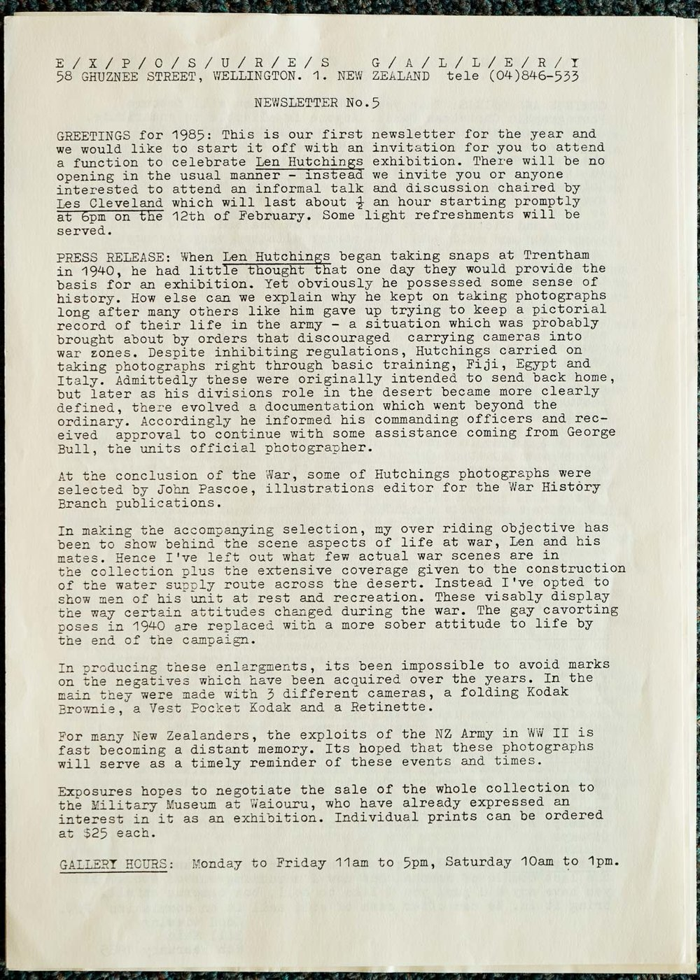 Exposures  Gallery Newsletter No.5, 8 February 1985