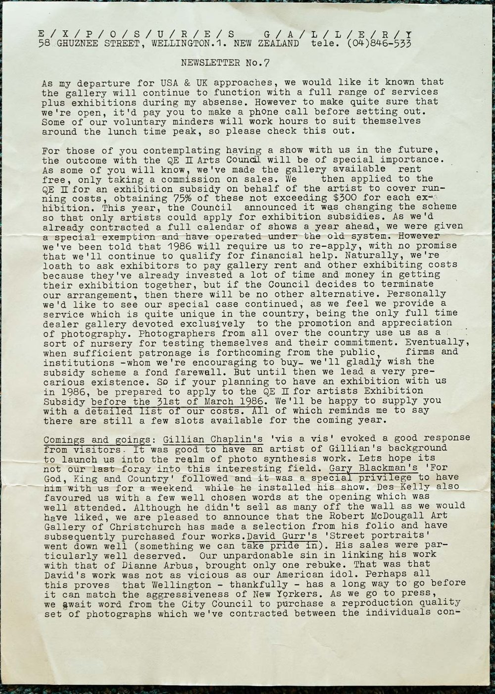Exposures  Gallery Newsletter No.7, August 1985
