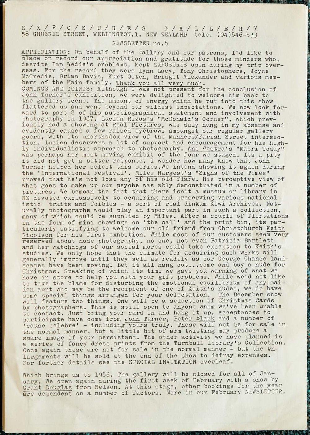 Exposures  Gallery Newsletter No.8, November1985