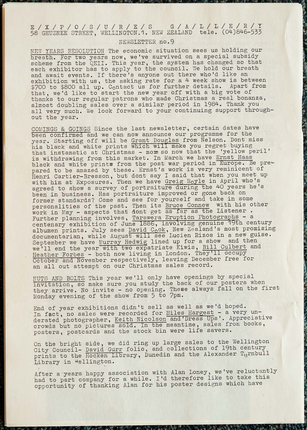 Exposures Gallery Newsletter No.9, February 1986