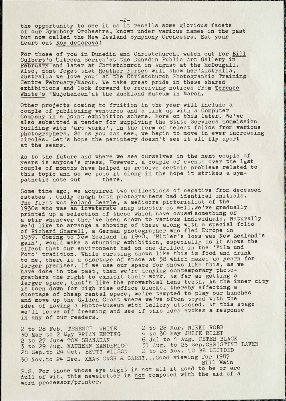 Exposures Gallery Newsletter No.12, February (?) 1987
