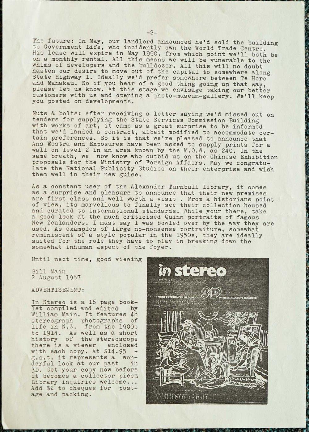 Exposures Gallery Newsletter No.14, 2 August 1987