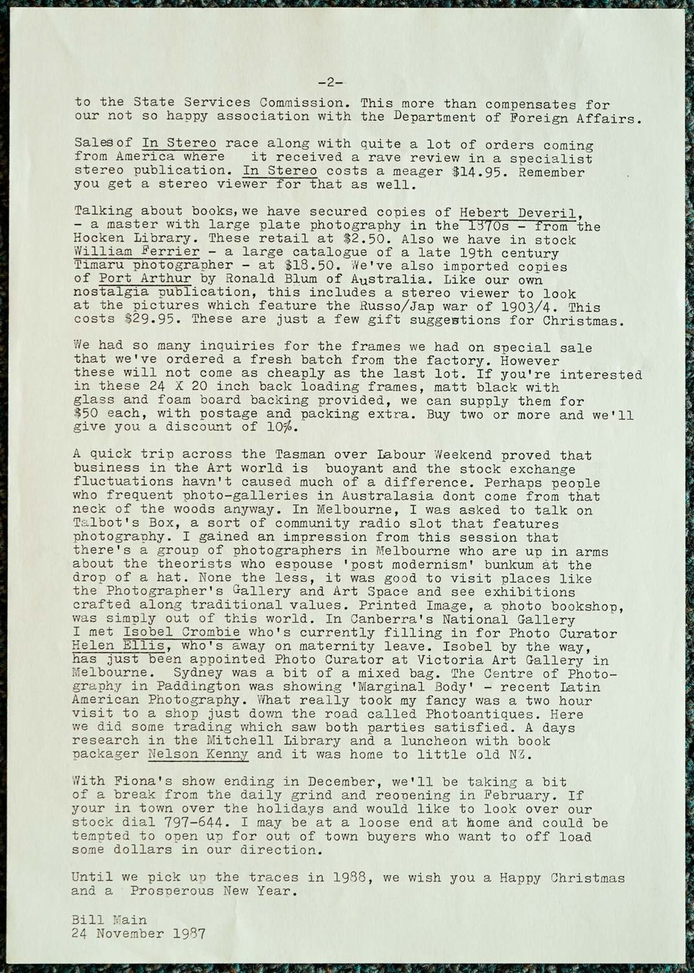 Exposures Gallery Newsletter No.16, 24 November 1987