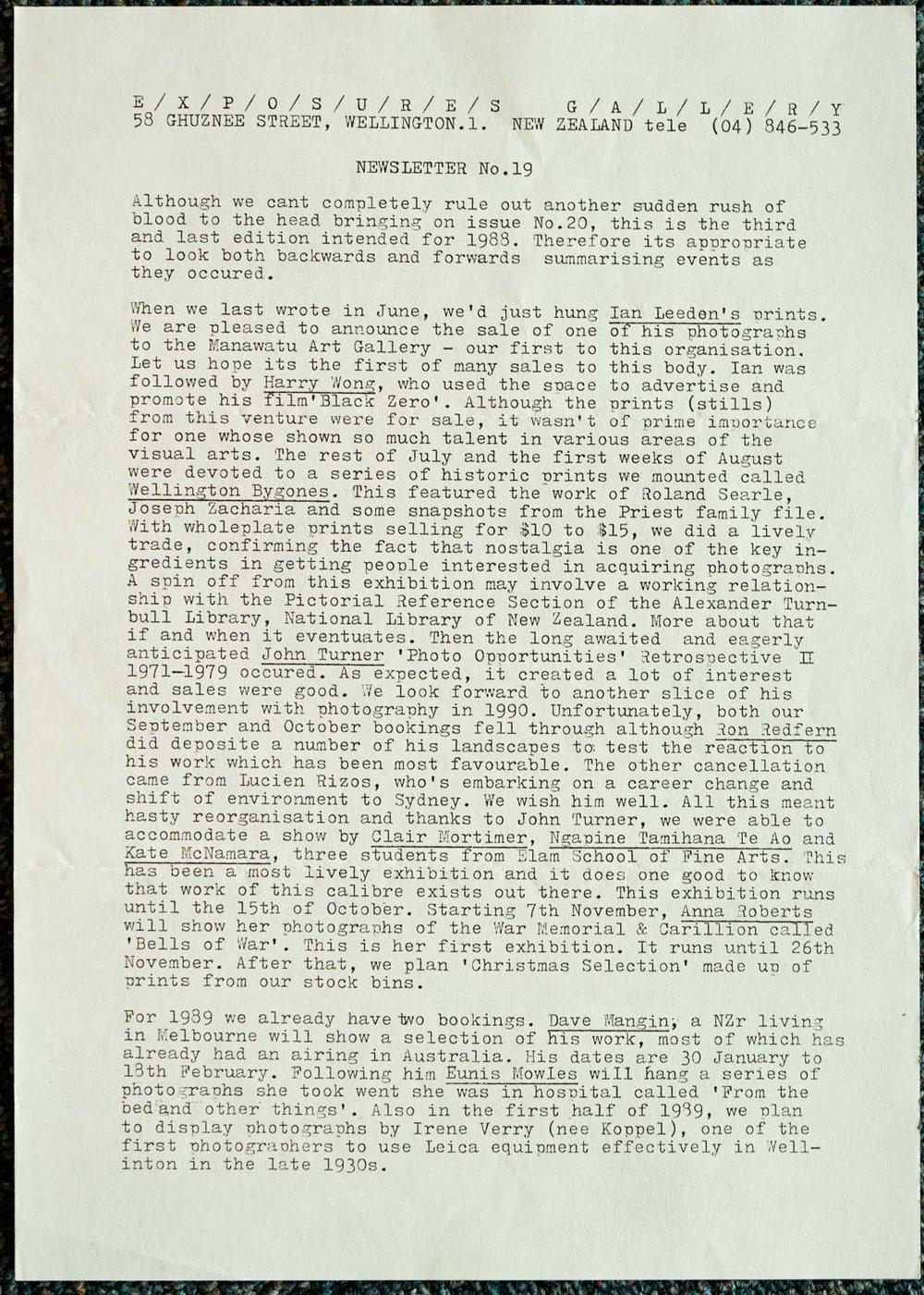 Exposures Gallery Newsletter No.19, October 1988