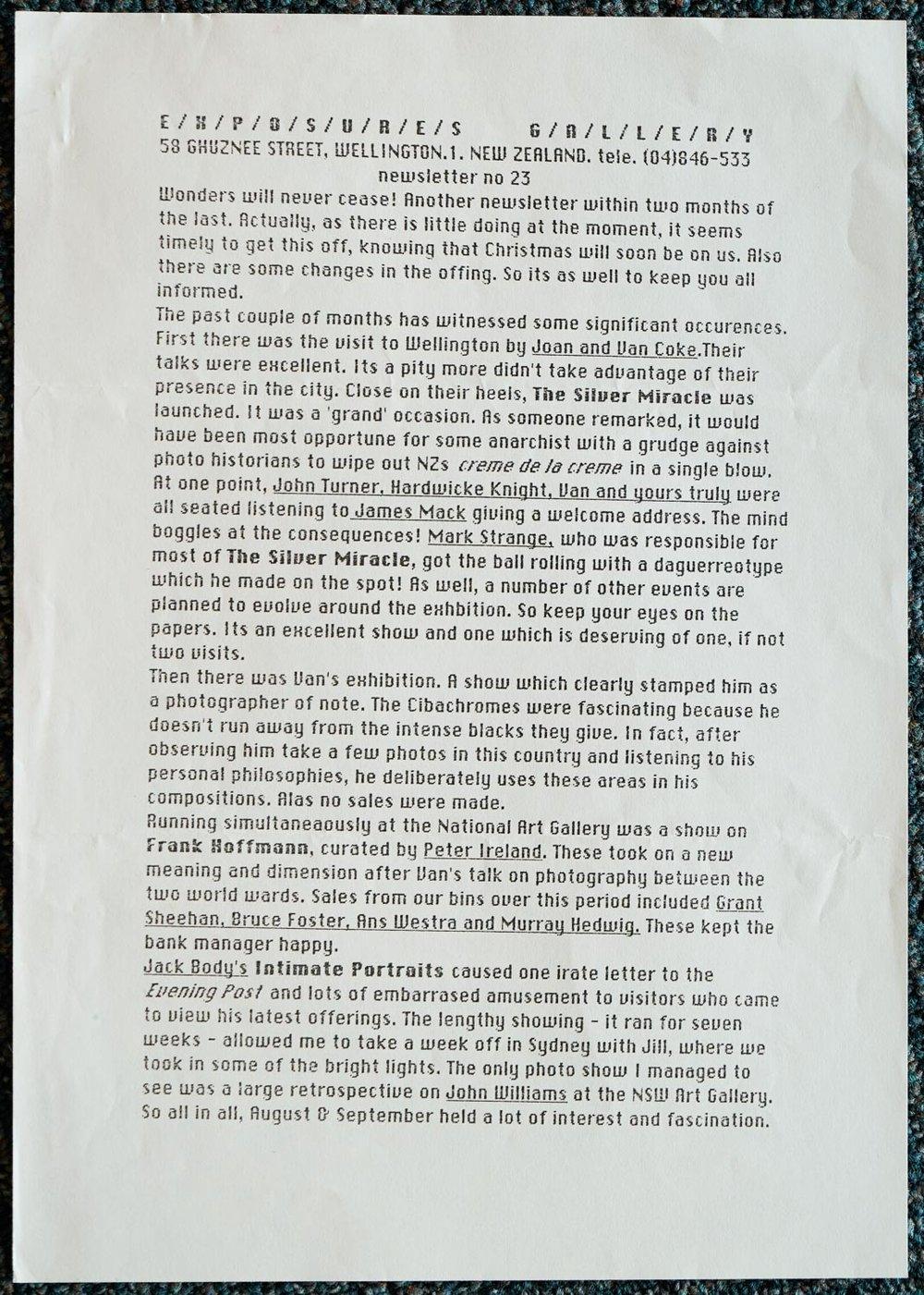 Exposures Gallery Newsletter No.23, August 1989