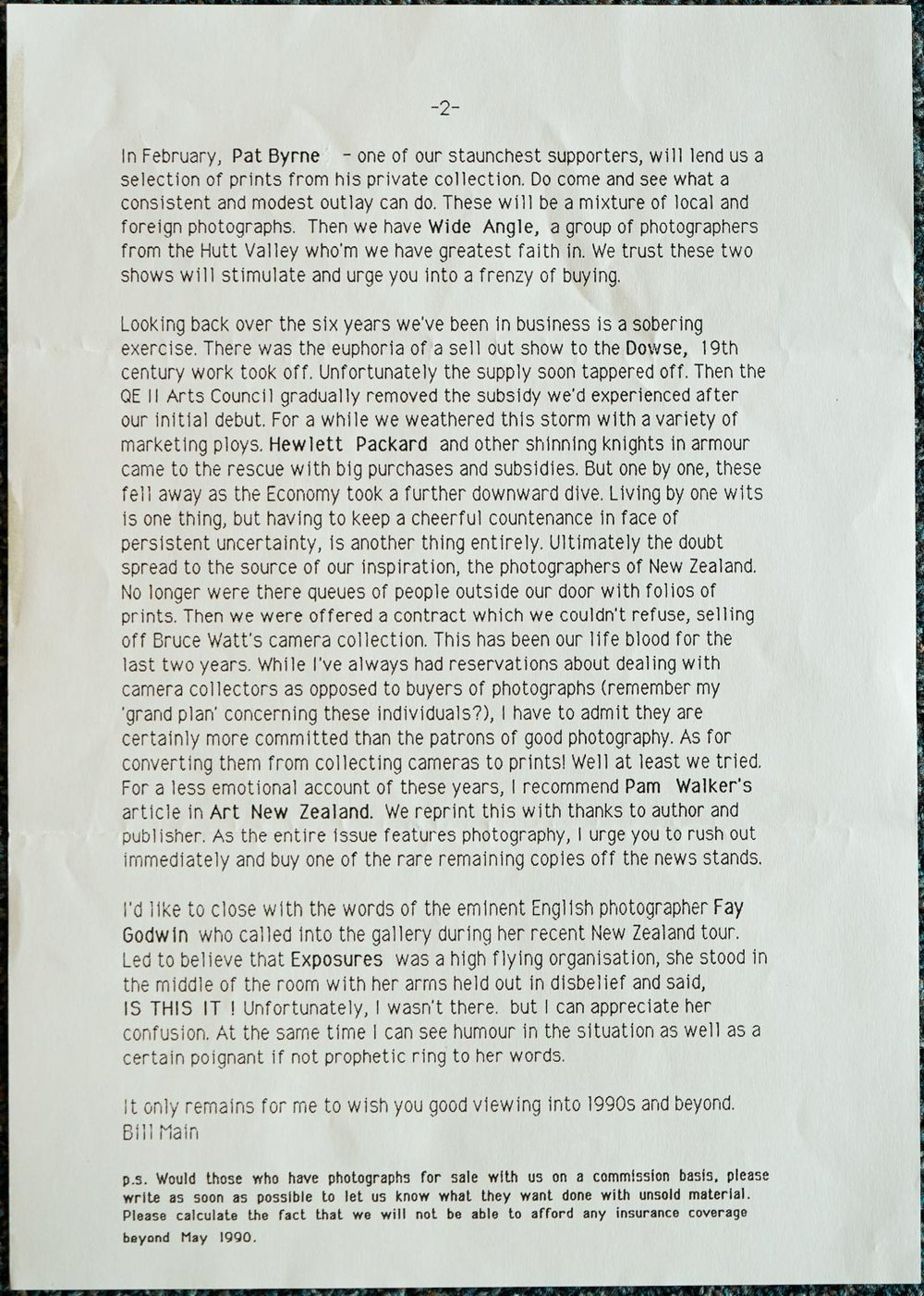Exposures Gallery Newsletter No.24, Undated (January 1990 ?)