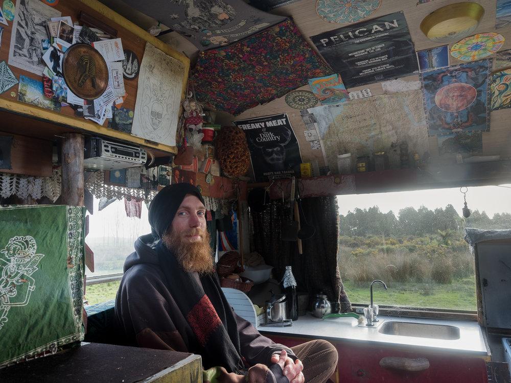 Julia Johnston.  Dan in his Caravan,  Barrytown, from  Coast Roaders