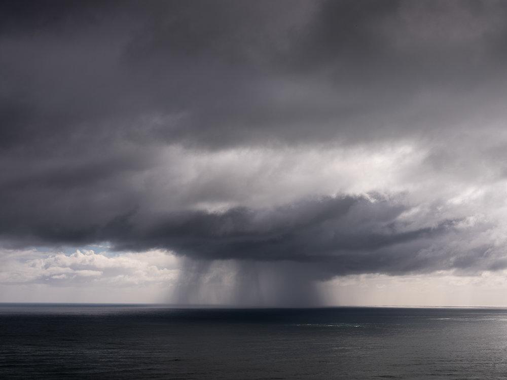 Julia Johnston,  Storm over Tasman , 11 Mile, from  Coast Roaders