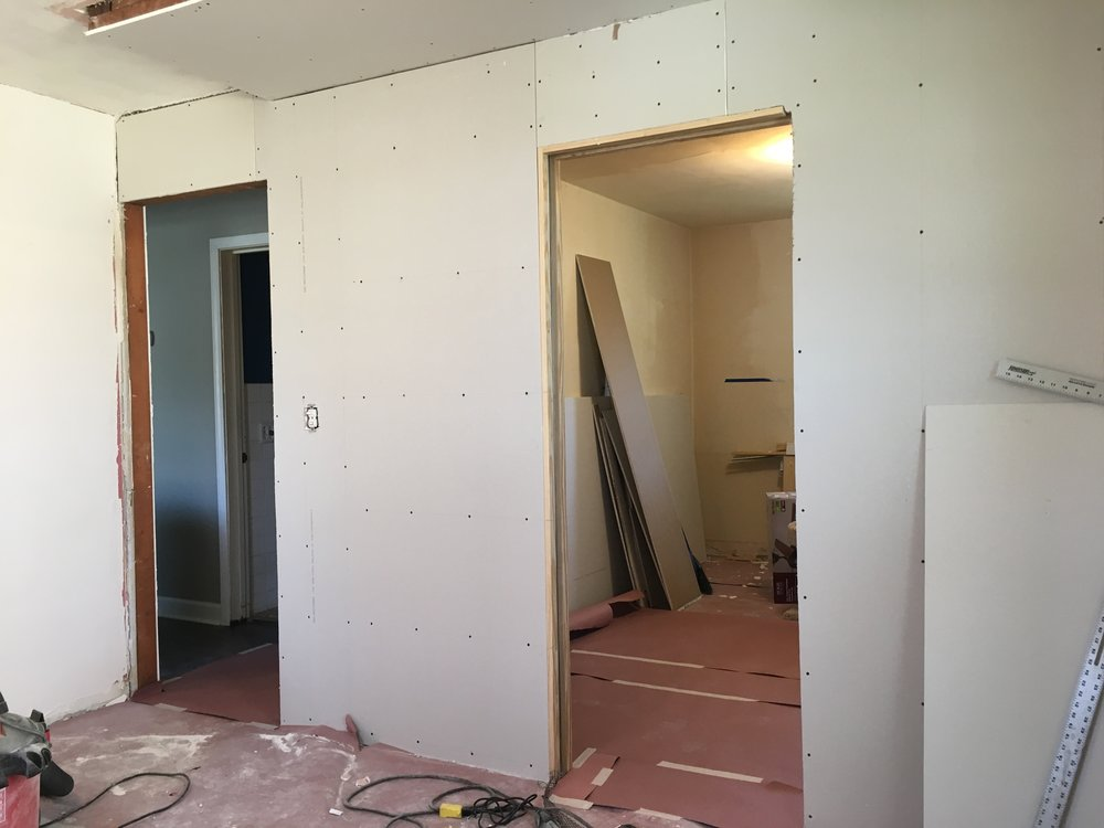 Looking into the closet from the master bedroom (pre-finished bedroom)