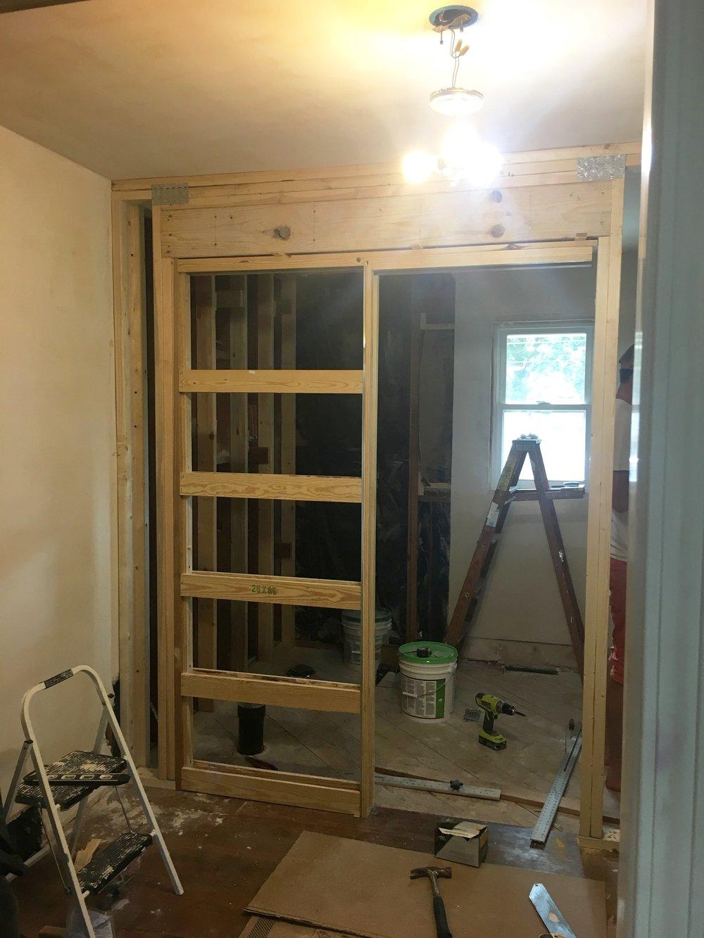 Framed in pocket door between closet and bathroom