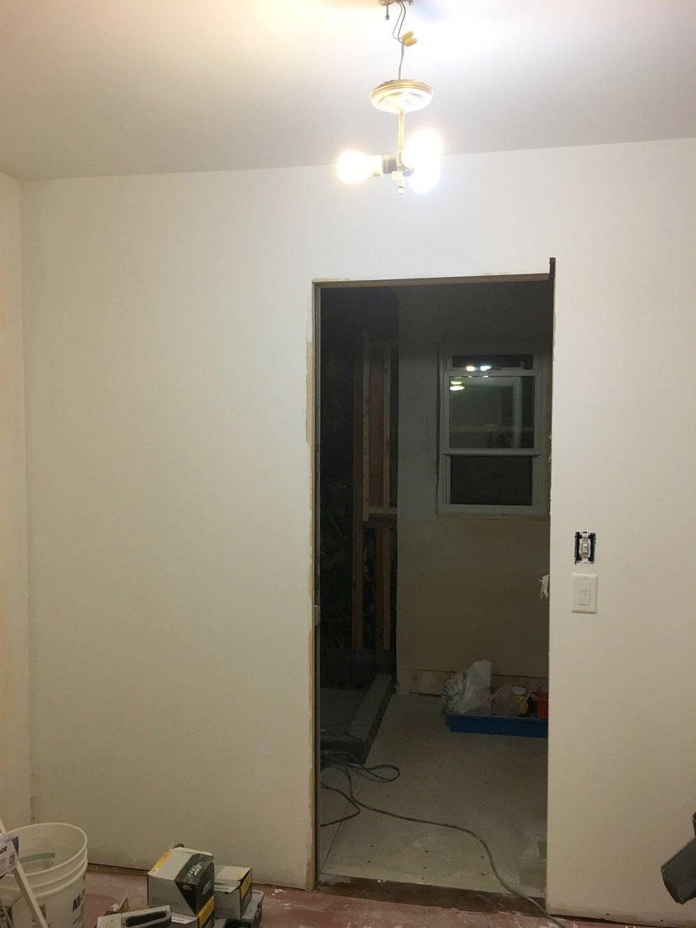 Wall between closet and bathroom