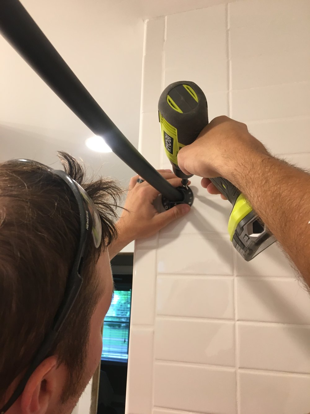 Installing a Shower Rod on Tile | Our Fifties Fixer Upper