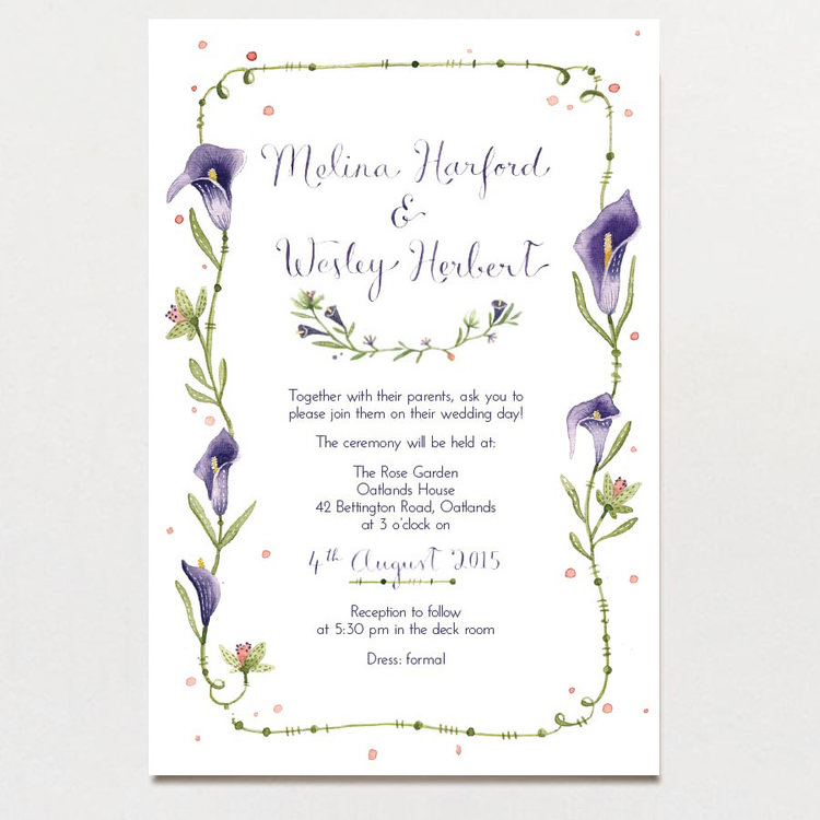 Calla Lilies Wedding Invitation The Paper Pinwheel