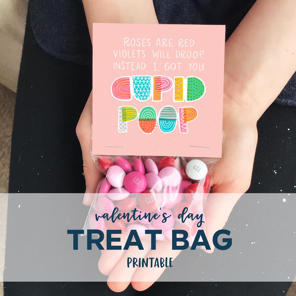 Cupid Poo Valentine's Day Treat Bag Printable | Home Again Creative