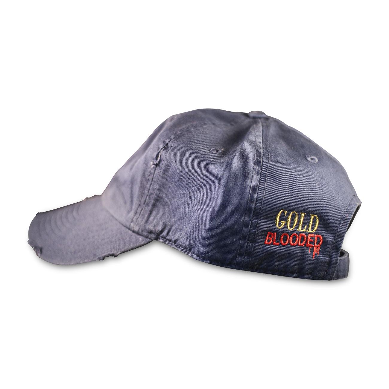 a20f5b3002c Indigo. 25.00. Blood Of Gold Logo Distressed Dad Hat