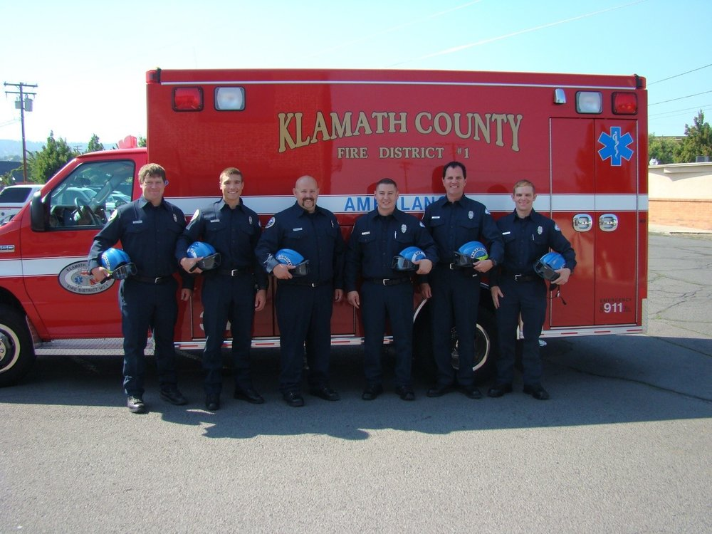 Image: Klamath County Fire District No. 1 - 2017 EMS Academy Graduates. (L to R) Colton Steinke, Layne Westwang, Wayland Sherman, Justin Llanes, Jade Ames, and Jared Hooper