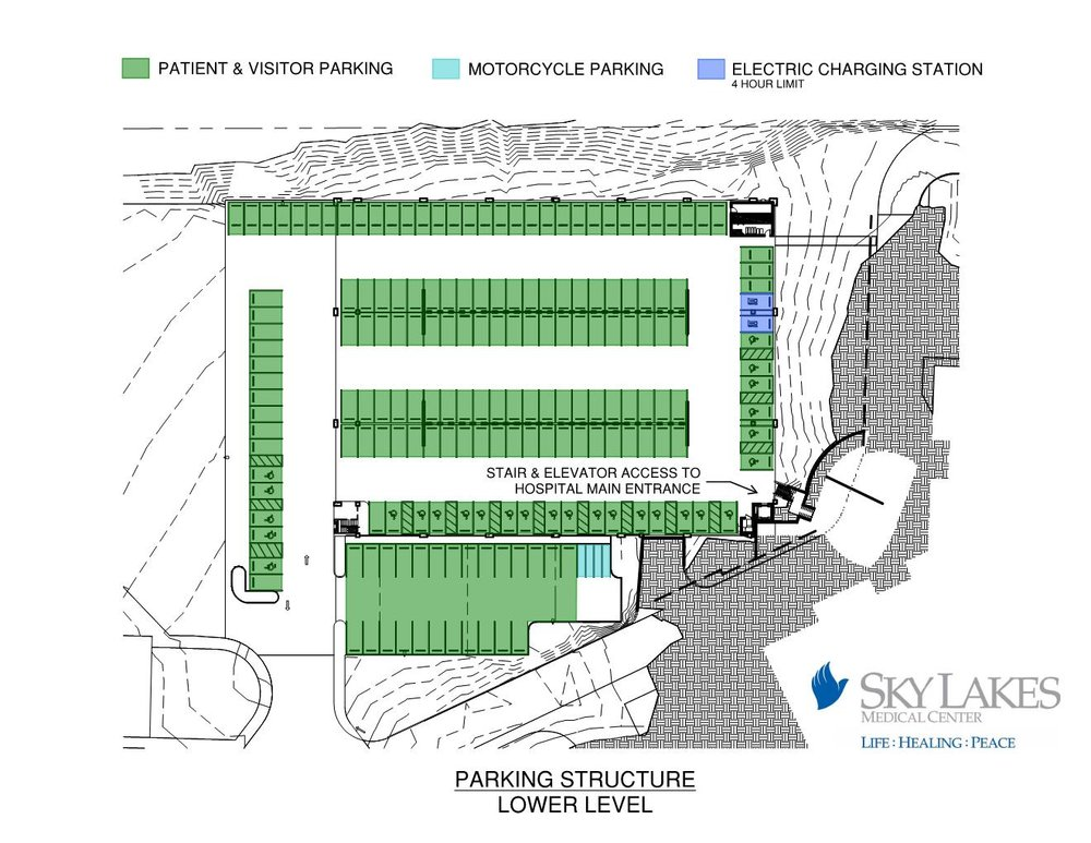 Parking schematic of the lower deck of the new parking structure at Sky Lakes Medical Center (Sky Lakes)