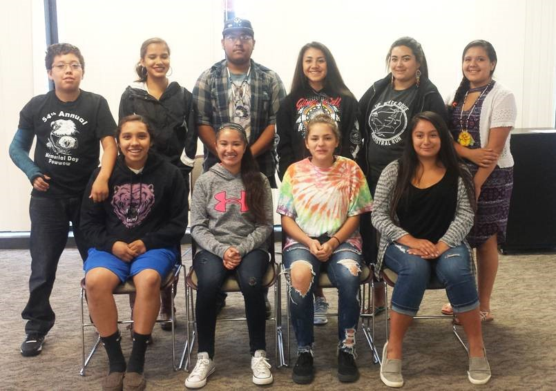 1st Ever Elected Klamath Tribes Youth Council Pictured Left to Right (Front Row): Treasurer- Hannah Schroeder; Secretary- Alexa Martinez; Vice-Chair- Sisika Sampson; Council-Chair- Ashia Wilson. (Back Row): Member- Orville Schroeder; Member- Laura Schroeder; Member- Riggs Schonchin; Member- Sahalie Crain; Member- Leah Murray; Member- Ei-Shah Pirtle-Boise; and Member- Natahna Schonchin-Noneo, who was unavailable at time of photo.