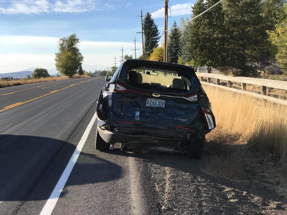 Damage to a Ford Edge following a collision when slowing for farm equipment in the road. The Edge was rear ended by a Ford Explorer that failed to slow for the equipment. (Brian Gailey)