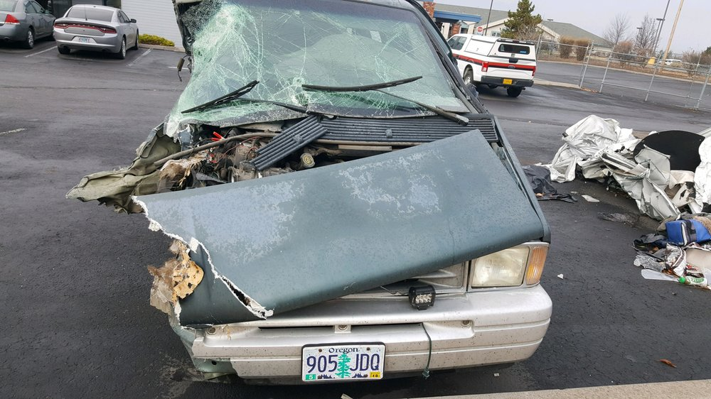 1996 Ford Aerostar van operated by Melquiadez Ibarra (57) of Klamath Falls, Oregon was impacted by 2009 Dodge Ram 2500 Pickup, operated by Austin Haynes (22) of Chiloquin, Oregon was traveling southbound when it crossed into the northbound lane of travel. (Oregon State Police)