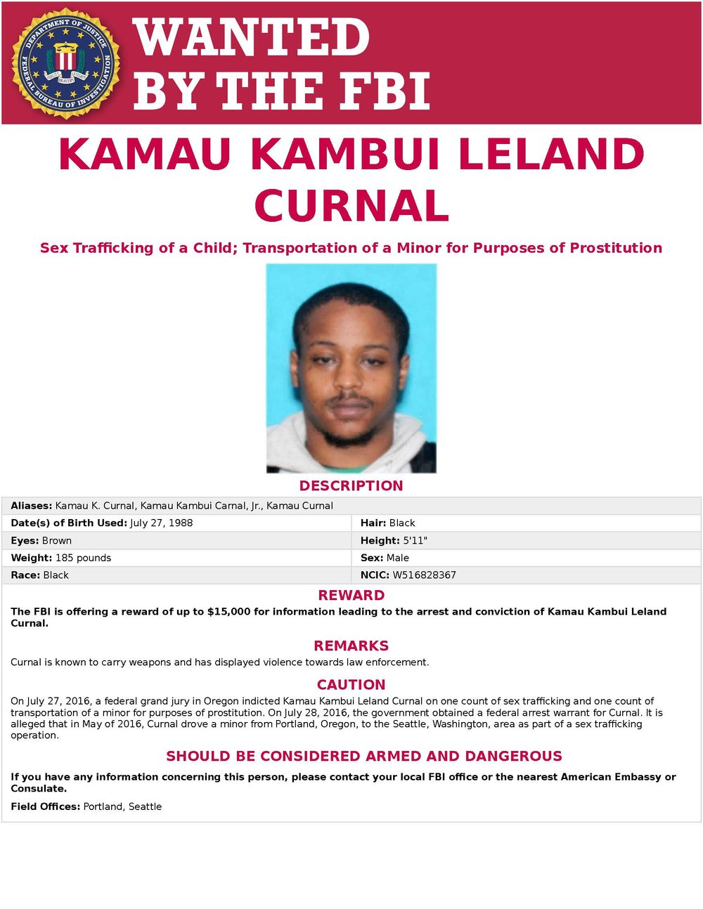 FBI Wanted Poster for Kamau Kambui Leland Curnal