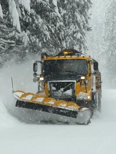 ODOT snowplow clearing Oregon 138 near Prospect.