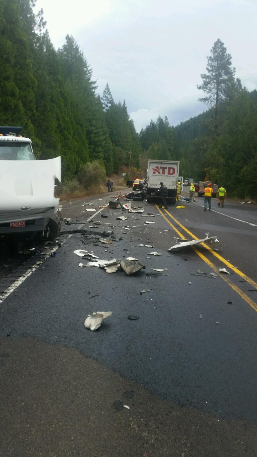Accident scene on ORE140 where a Shady Cove Man loses life.