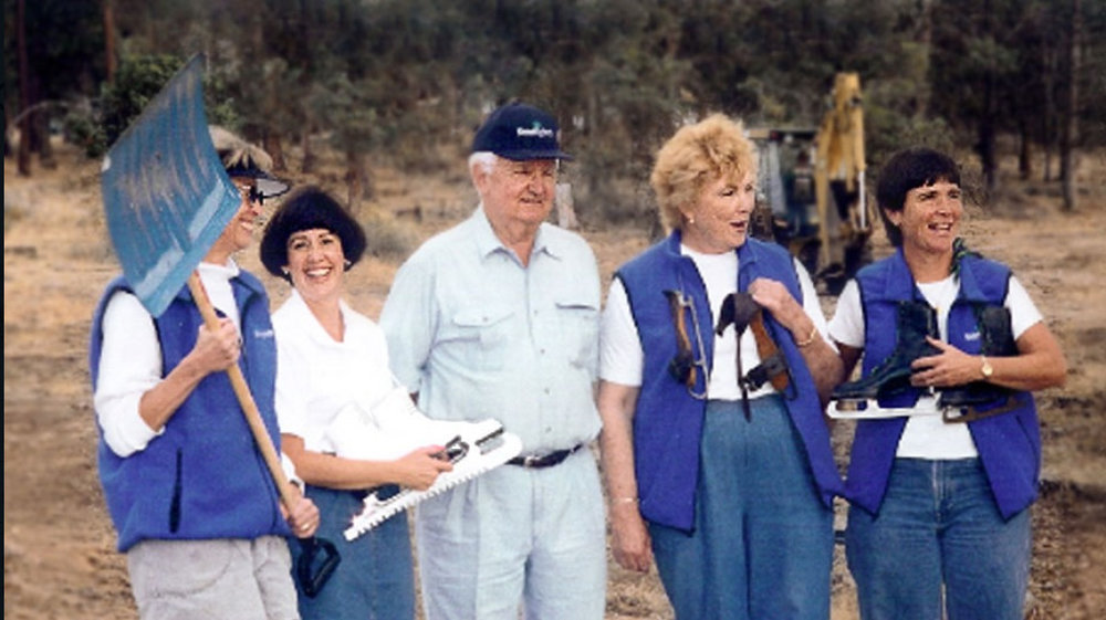 In 2001, members of the Klamath Ice Sports board celebrated construction progress at the new ice arena. left to right:  Dr. Carol Fellows, Suzette Machado, Bill Collier, Beverly Jackson and Paula Brown. (KlamathIceSports.org)