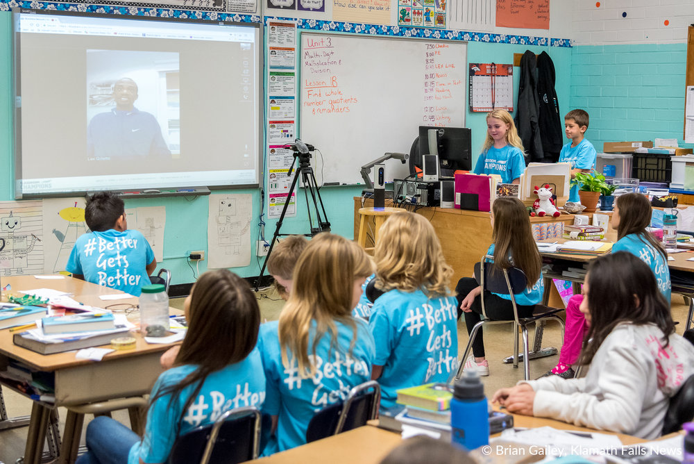 Classroom Champions connects Olympic and Paralympic athletes to students in a year long mentoring program.  Here 4th grade students from Shasta Elementary video chat with their mentor Lex Gillette, a blind Paralympic athlete. (Brian Gailey)