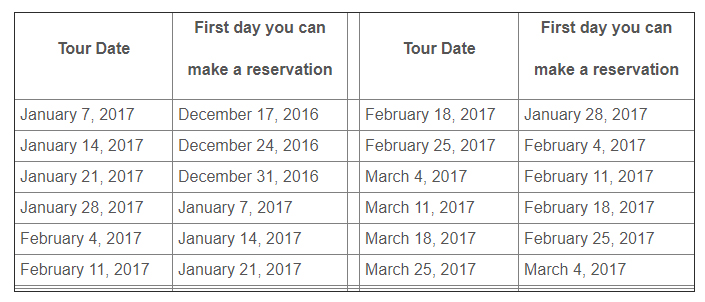 Reservations are recommended for the tours. This table shows when you can reserve a specific tour (NPS)